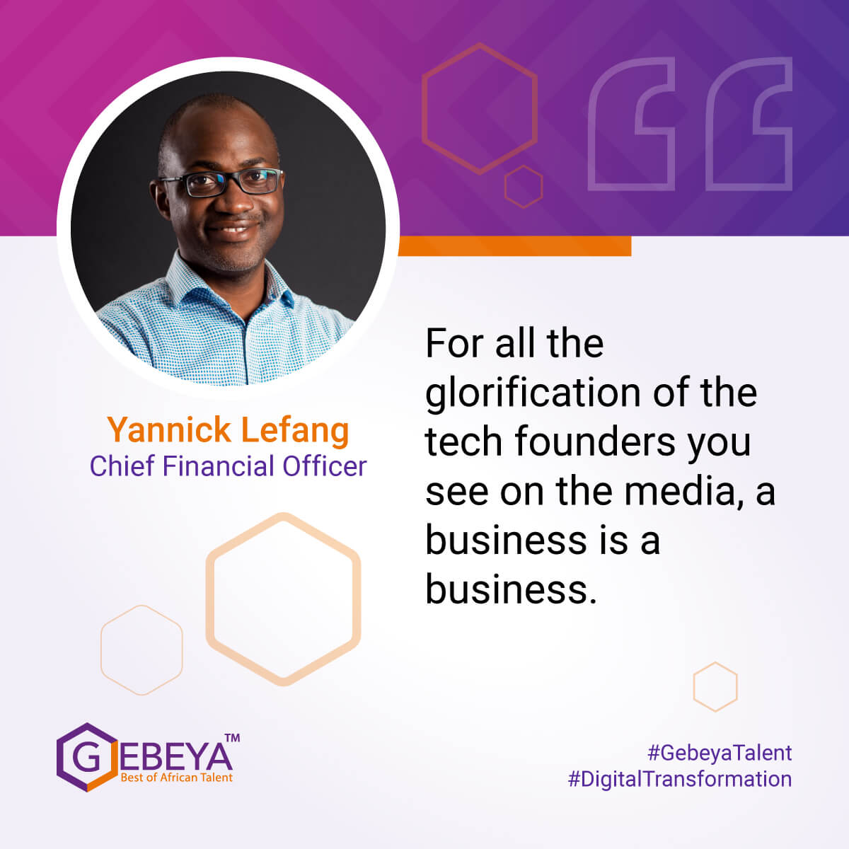Yannick Lefang, Chief Financial Officer, Gebeya